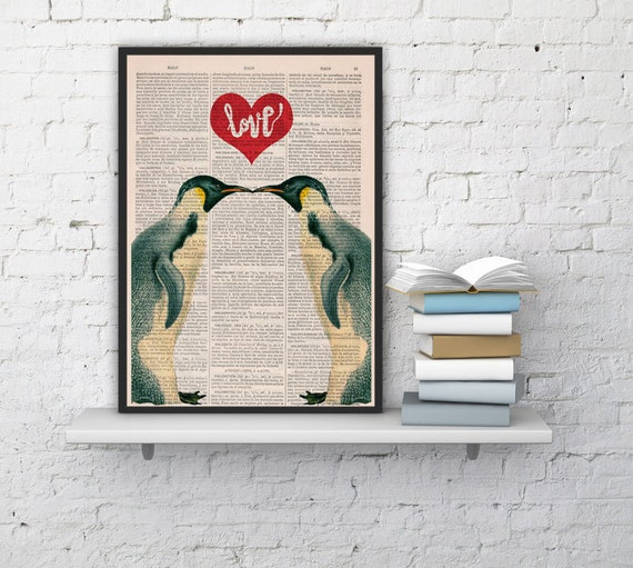 Penguins in love with Red heart Printed on Vintage Book Page perfect for Christmas gifts ANI015b