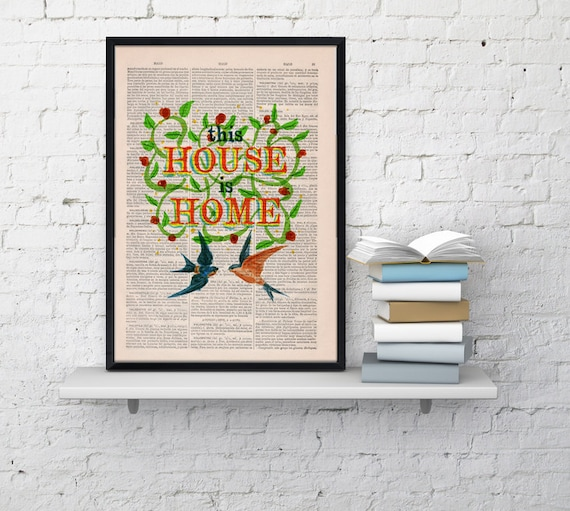 Home love Quote Print Dictionary Book Typography Art on Upcycled Dictionary Book page TYQ025