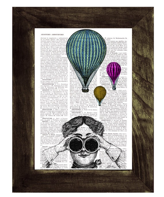 Hot air balloon watching Wall decor poster art , Dorm wall hanging, gift, print  on vintage book page, print TVH147