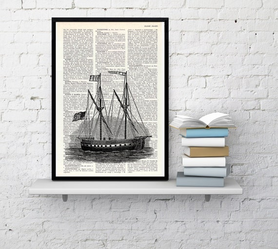 Antique ship printed on  Dictionary Page, Sea life art,  Wall decor Ship art, Sea shore house decor, wall hanging SEA010