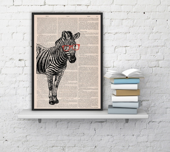 Geek Zebra with glasses, Wall art, Wall decor,   Vintage Book sheet, Nursery wall art, Prints, Wholesale ANI003