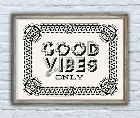 "Inspirational Quote Wall Decor ""Good Vibes Only"", Typography Print, Inspirational Poster, Wall art, Wall decor, Giclee print, TYQ160WA4"