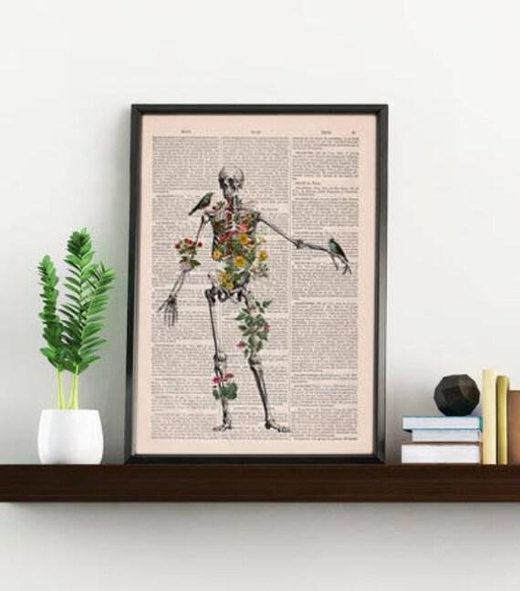 Human Skeleton full of naure Doctor student gift Anatomy Print Anatomical decoration science & anatomy art, Biology SKA142