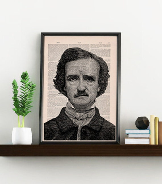 Edgar Allan Poe Portrait illustration, art decoration,  Wall art, Wall decor, Home decor, Prints, Giclée,  TVH055