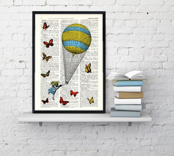 Alice in wonderland  Alice in wonderland Balloon and Butterflies Print on Vintage Dictionary Book art ALW024