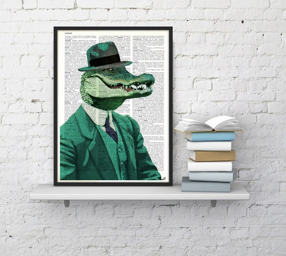 Chic Crocodile  Wall decor, Unique Gift Crocodile with green suit wall hanging Poster Print art fun poster wall ANI172