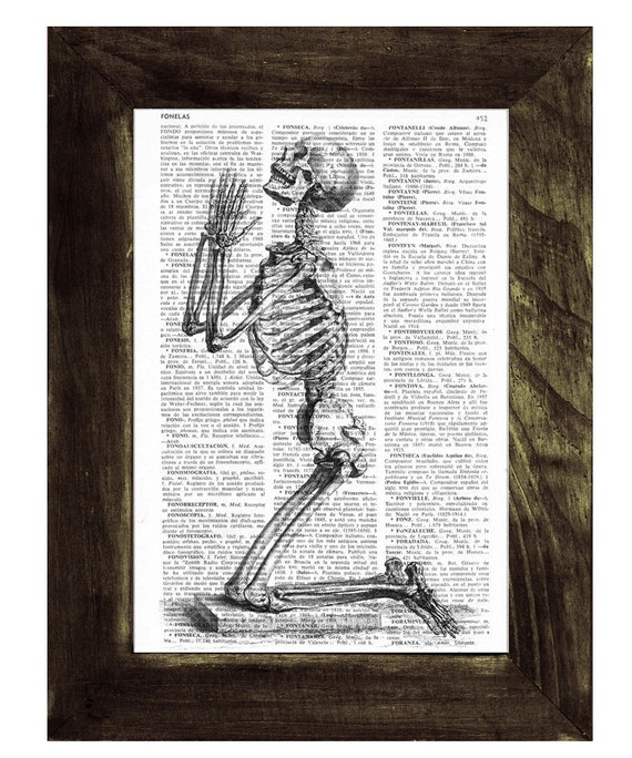 Praying Skeleton - Dictionary Book Page Print - Anatomy Art on Upcycled Book Page SKA085