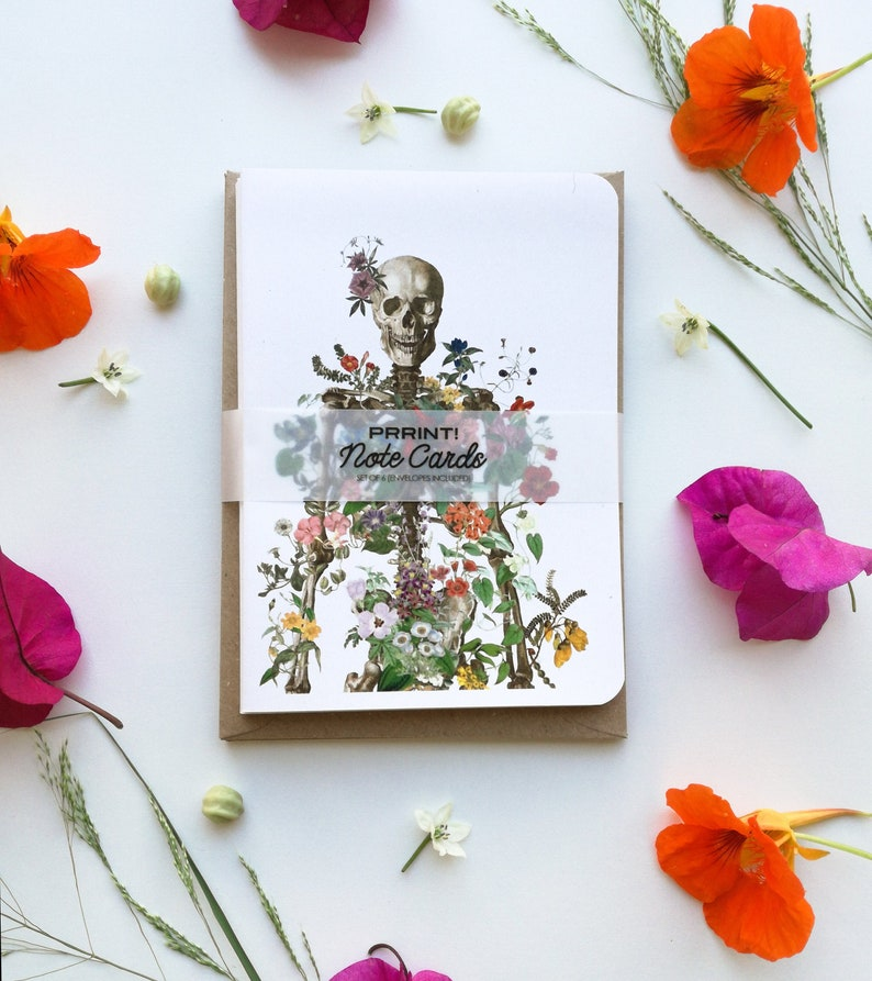 Colourful Anatomical Greeting cards set. Anatomy and flowers. image 0