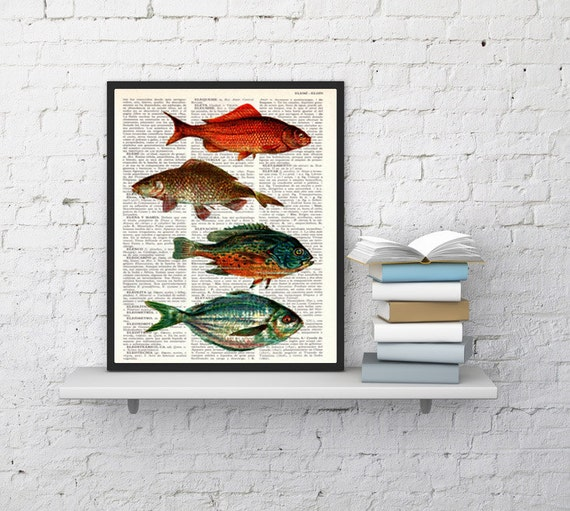 Vintage Book Dictionary or Encyclopedia Page Print Book print Vintage  fishes Print SEA056