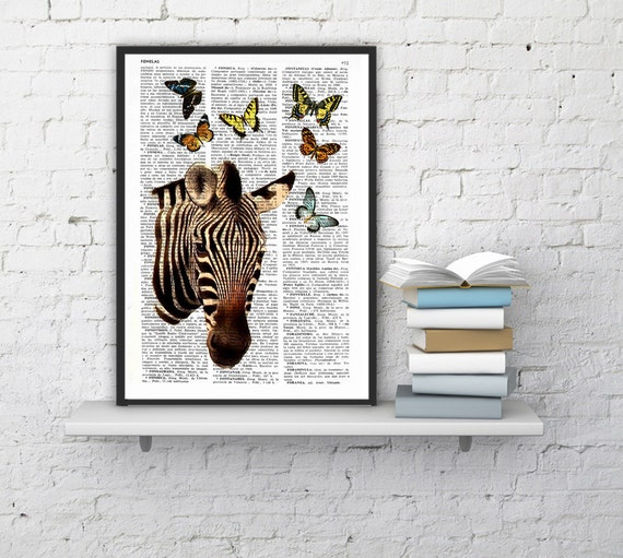 Christmas gifts for her Zebra with butterflies Art Print, DICTIONARY Art Print, Wall Decor, Zebra POSTER Dorm Decor Art Fun print ANI004