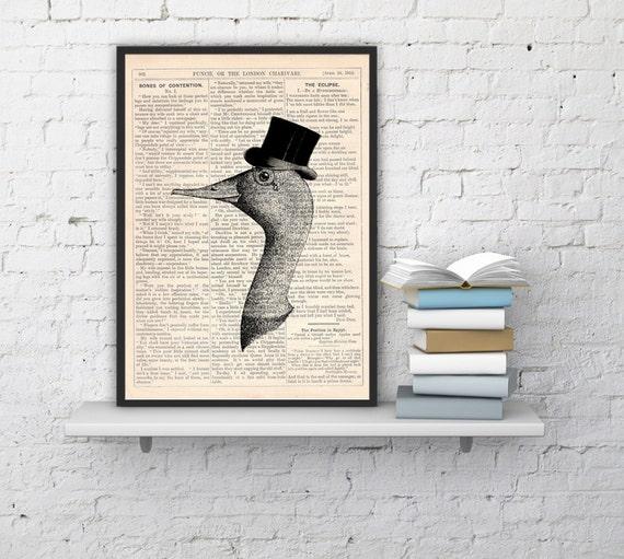 Christmas gifts for her Gentleman goose, Wall art, Wall decor,   Vintage Book sheet, Nursery wall art, Prints, Gift for him,  ANI156