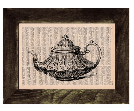 Christmas gifts for her Upcycled book page Tea pot Victorian Style Print on Vintage Book art kitchen wall decor TVH120