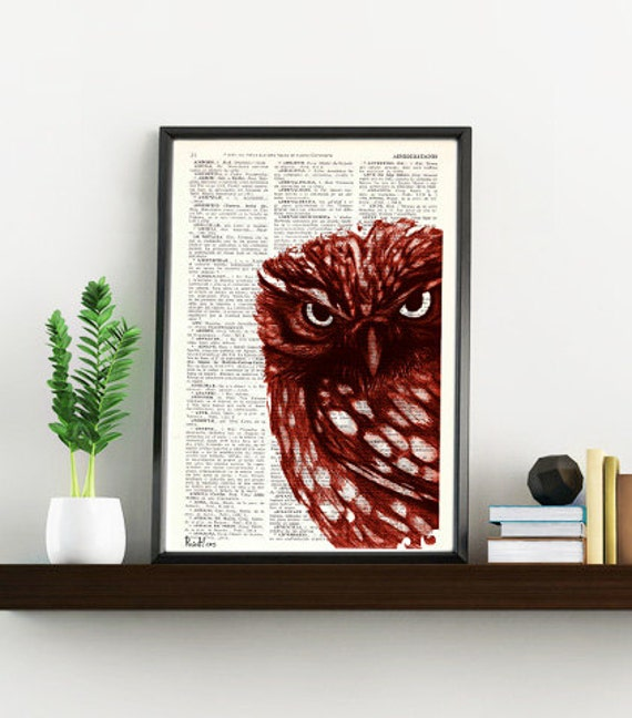 Christmas gifts for her Red Owl, Wall art, Wall decor,   Vintage Book sheet, Nursery wall art, Prints, Wholesale, ANI021