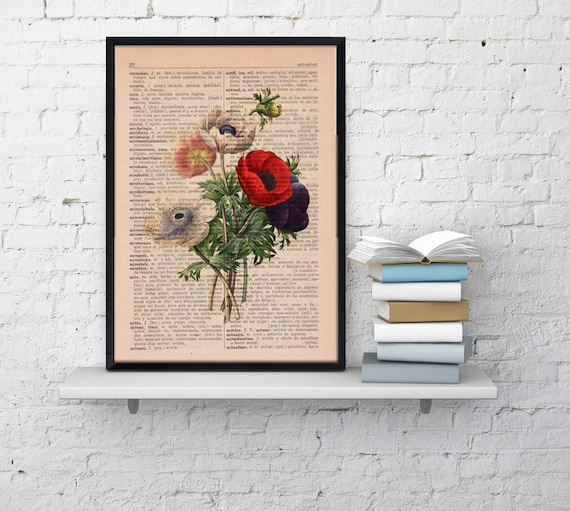Christmas gifts for mom Wall art floral print Anemones bouquet collage Print Home decor, wall hanging floral bouquet,upcycled gift BFL046