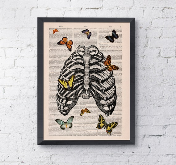 Full of Butterfly in human rib cage printed on Vintage Book Page the best choice for Christmas gifts SKA068b
