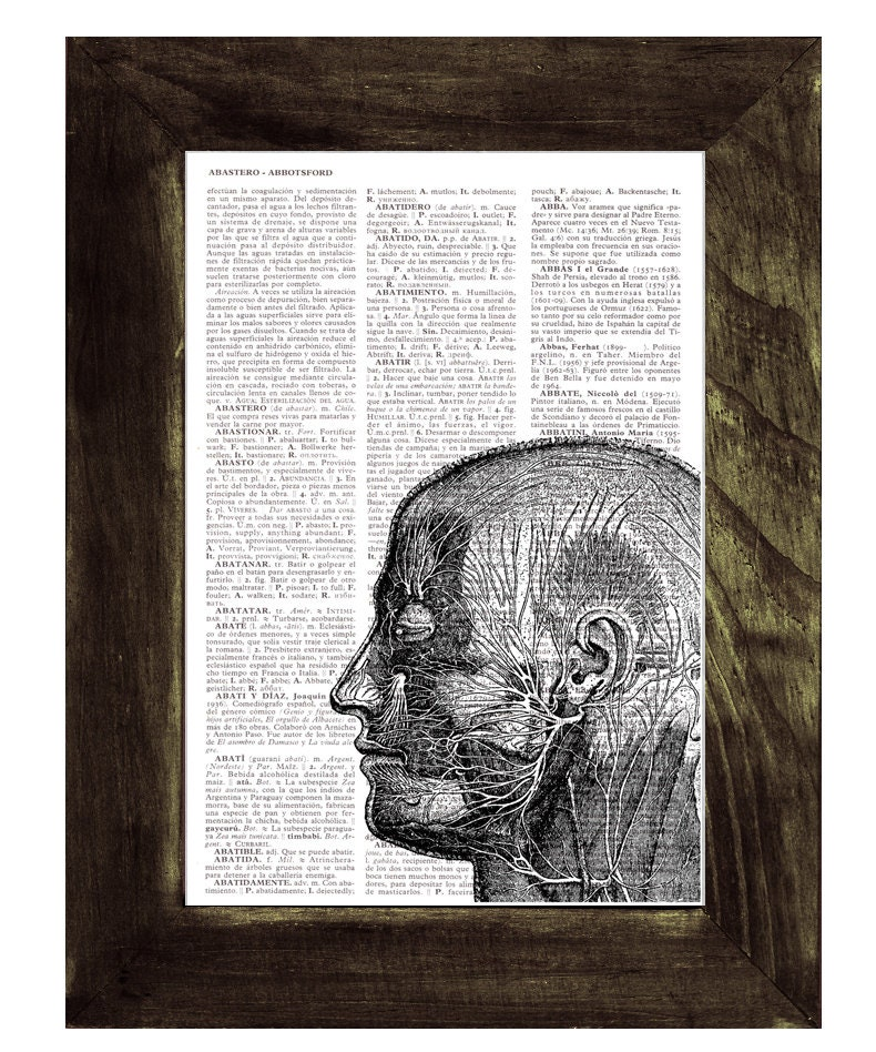 Head Anatomy Study Doctors Gift Dictionary Book Page Print