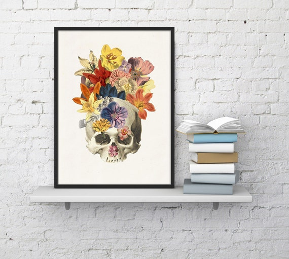 Human skull and wild flowers collage Anatomy art  SKA016WA4