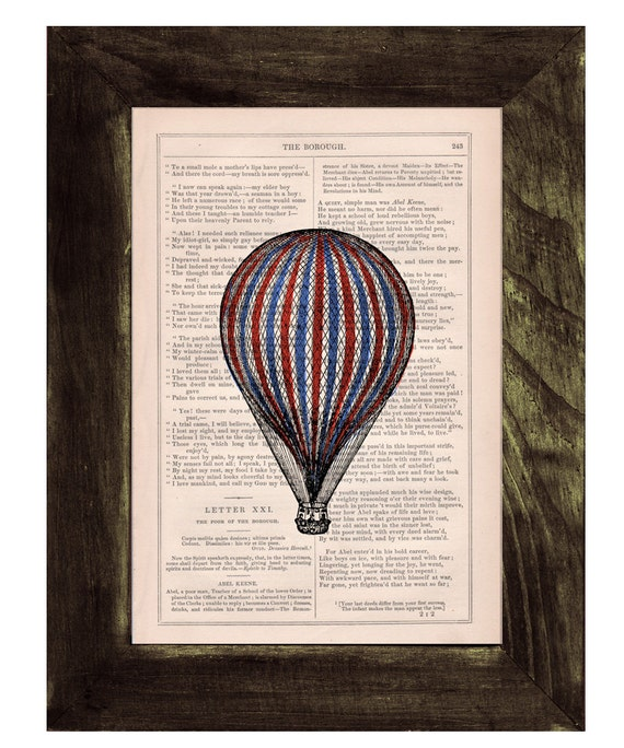 Hot air Balloon classic style,  Wall art Home decor, Digital prints, Prints, Giclée, Vintage book TVH114