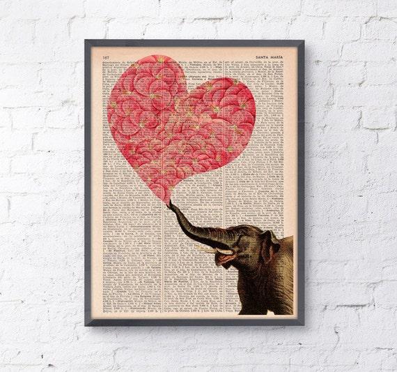 Elephant with a Heart made of Flowers, Wall art, Wall decor,   Nursery wall art, Prints, Wholesale ANI099