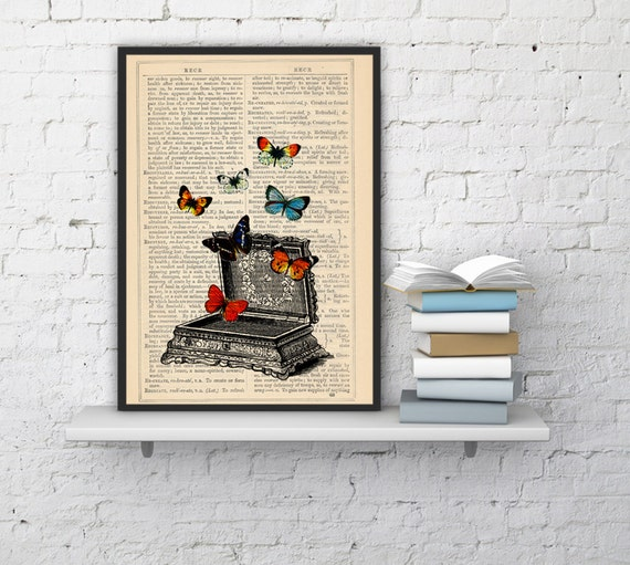 Christmas gifts for mom Upcycled Art Print -Vintage jewell box with butterflies- Pandoras box -collage Print BFL027