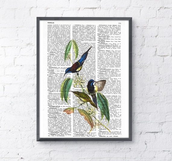 Hummingbirds, Wall art, Wall decor,   Vintage Book sheet, Nursery wall art, Prints, ANI115