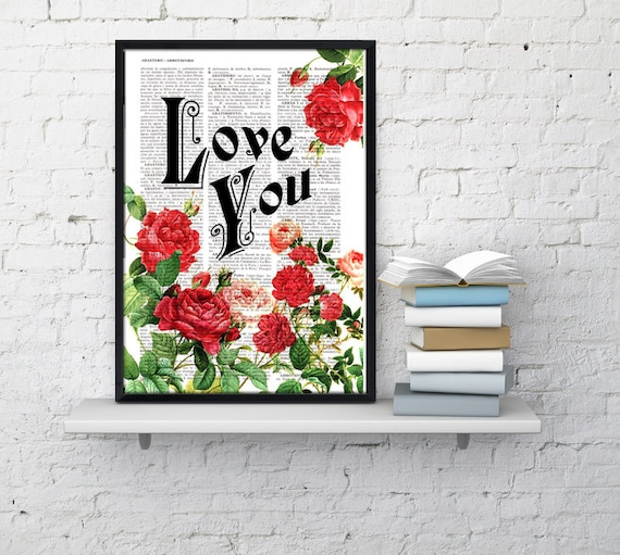Christmas gifts for mom Book print art Love  Roses collage  Upcycled book page Art Dictionary book print BFL042