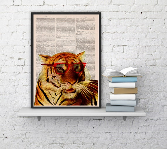 Vintage book print Cool Tiger with sunglasses Printed on Vintage Book sheet  Nursery wall art ANI163
