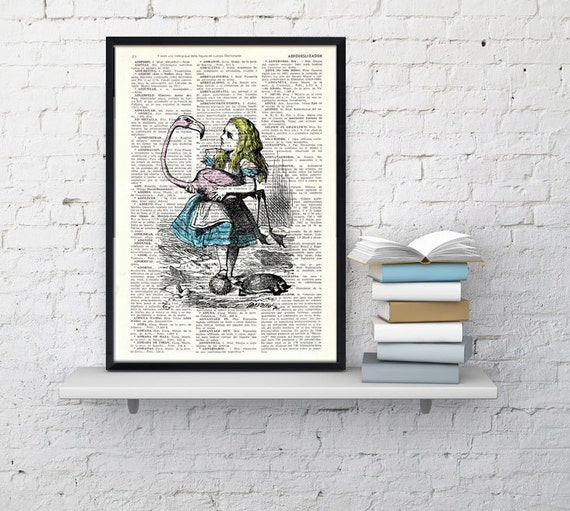 Vintage Book Print Alice in Wonderland  Alice and the flamingo Print on Vintage Dictionary Book art ALW005