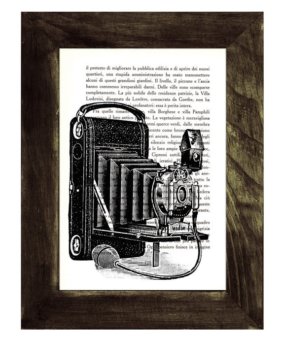 Christmas gifts for her Old Book Print Photo camera Dictionary or Encyclopedia Page Old Photo Camera Print  TVH049