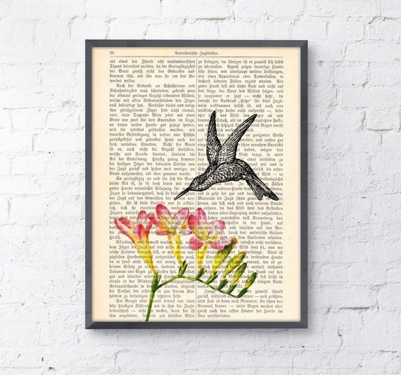 Hummingbird, Wall art, Wall decor,   Vintage Book sheet, Nursery wall art, Prints, WholesaleANI120
