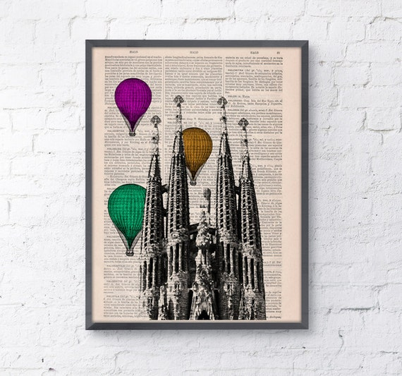 Christmas gifts for her Vintage Book Print Barcelona Sagrada Familia Multicolored Balloons Ride Print art Gaudi Holy Family TVH025