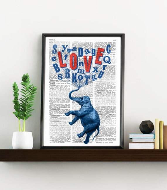 Elephant love dream, Wall art, Wall decor, Digital prints animal,  Vintage Book sheet, Nursery wall art, Prints, Wholesale  ANI087