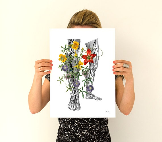 Flowery Legs, Human Anatomy Art, Anatomical art, Anatomy art, Digital art, Gifts for doctor,  Wall art, Wall decor, Wholesale,  SKA096WA3