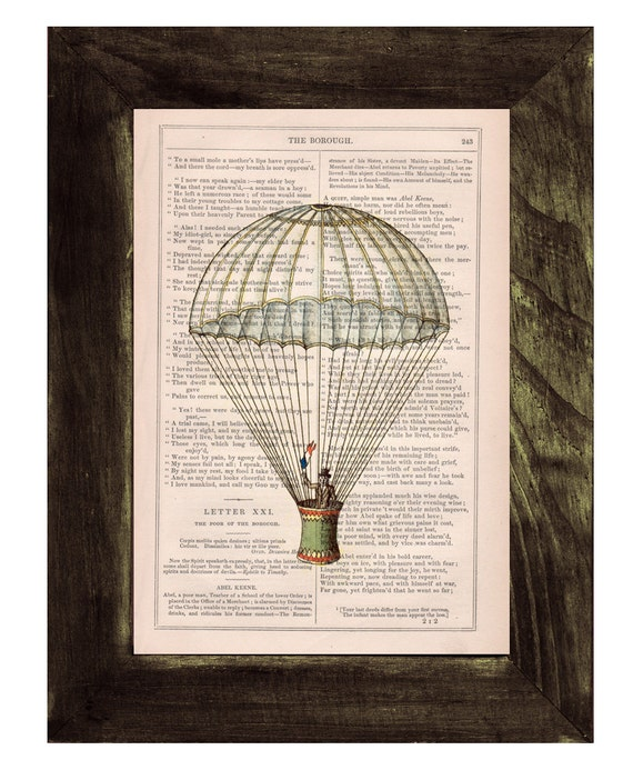 Christmas gifts for her Book print Hot air Balloon classic style Print on Vintage Book - mixed media art TVH046