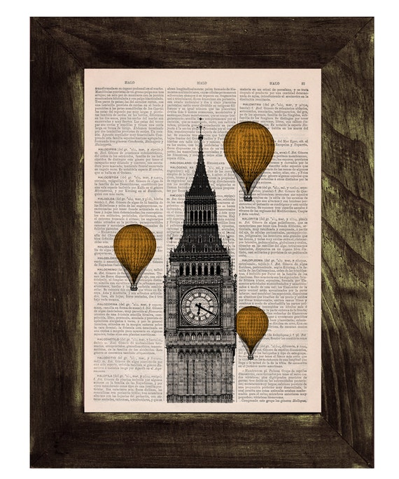 Christmas gifts for her London Big Ben Tower, Golden Yellow color Balloon Ride Print on Vintage Book art, Wall art,Digital prints, TVH013