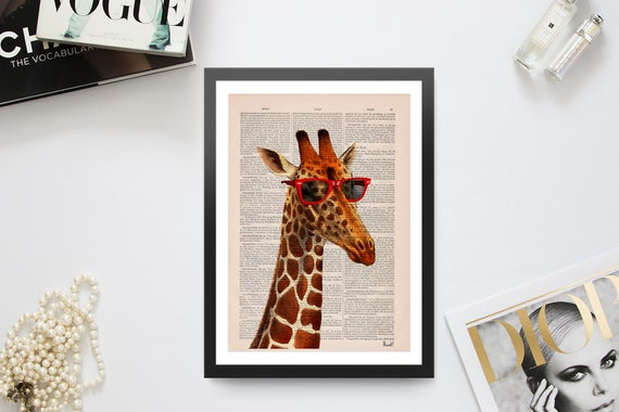 Cool Giraffe with sunglasses, Funny art, Funny prints, Wall art, Wall decor,   Nursery wall art, Prints  ANI008