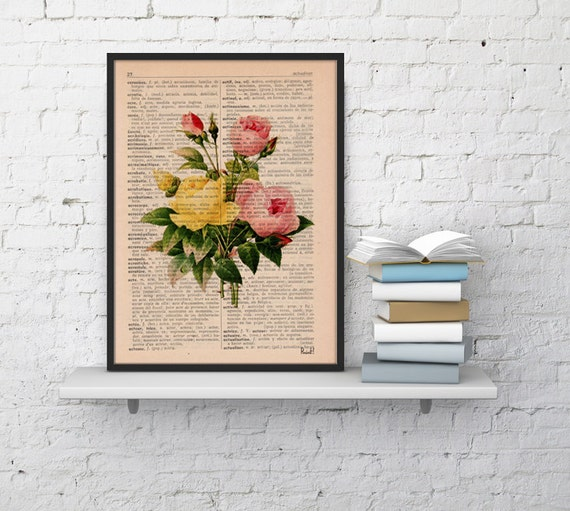 Christmas gifts for mom Vintage Book Print Dictionary or Encyclopedia Book print Antique Roses Bouquet Print BFL044