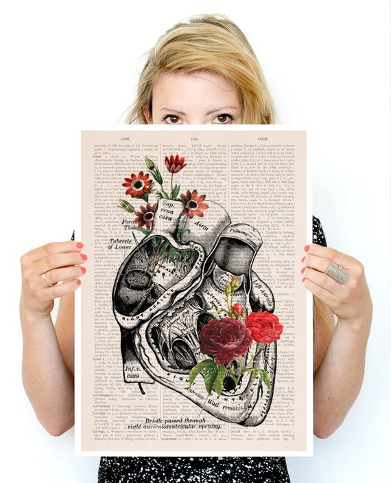 Flowery Heart Poster, anatomy art, wall art, wall decor, poster, anatomy, anatomy poster, science, medical art, human heart, SKA080PA3