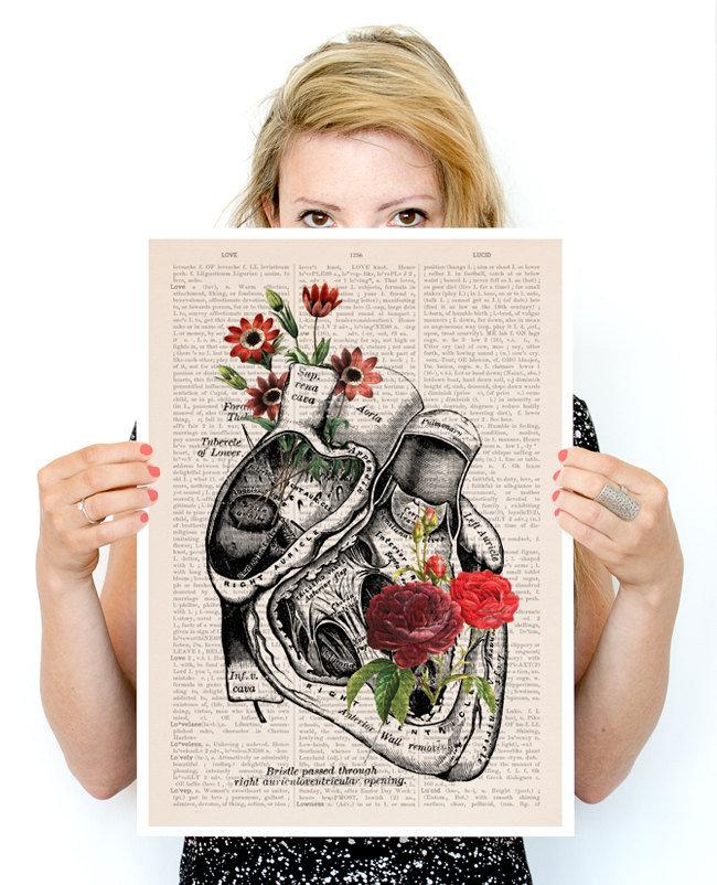 Flowery Heart Poster, anatomy art, wall art, wall decor, poster ...