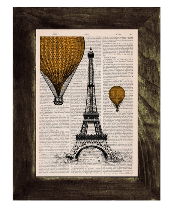 Christmas gifts for her Eiffel Tower Yellow Balloons Ride Print on Vintage Book, France art Digital prints  TVH026