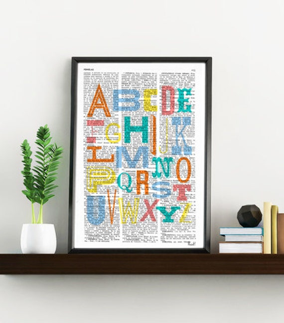 Wall hanging Nursery, Alphabet book print, Typography collage,  Wall art, Wall decor, Digital prints TYQ011