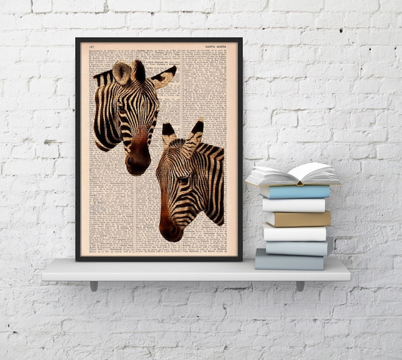 Christmas gifts for her Zebras in love, Wall art, Wall decor,   Vintage Book sheet, Nursery wall art, Prints, Wholesale,  ANI01
