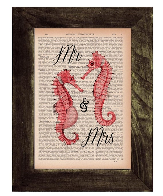 Mr and Mrs Sea Horse Wedding  Book Print Sea horse on  Dictionary or Encyclopedia Page BPSL026