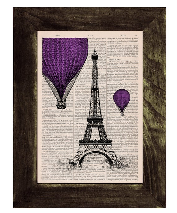 Eiffel Tower Purple Balloons Ride Print on Vintage Book, France art, Wall art, Wall decor, Home decor TVH031
