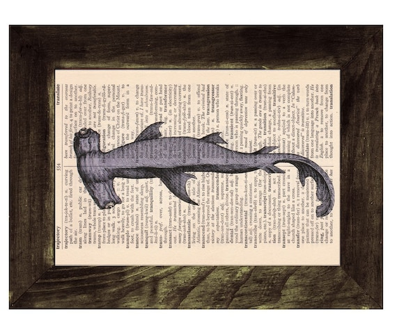 Vintage Book Print Dictionary or Encyclopedia  Book print Hammerhead Shark Print on Vintage Dictionary SEA087