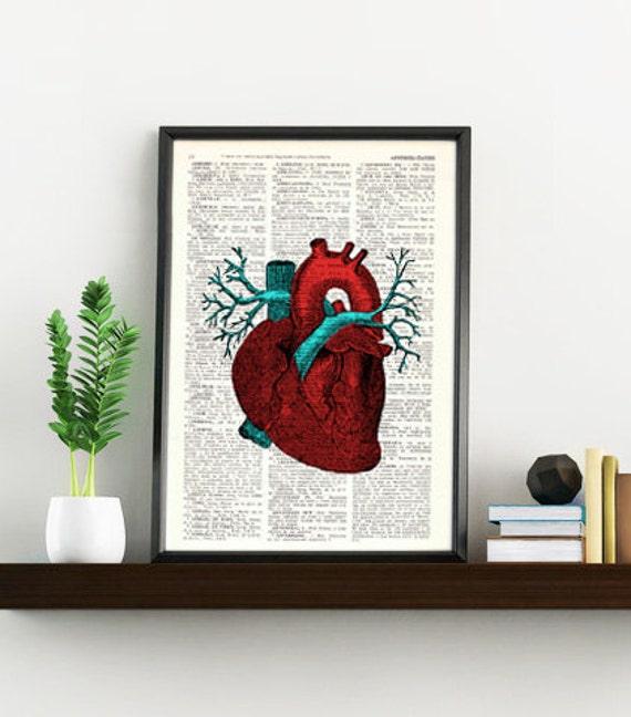 Human Heart Wall art Anatomy study print, Medicine, graduation gift, Giclee print Human heart study, gift SKA057