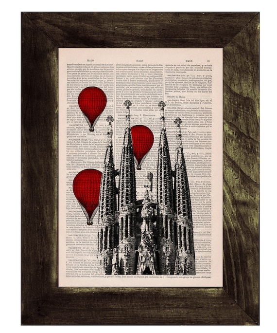 Christmas gifts for her Barcelona Sagrada Familia, Red hot air Balloons print, Gaudi Architecture Monuments art, office decor TVH019