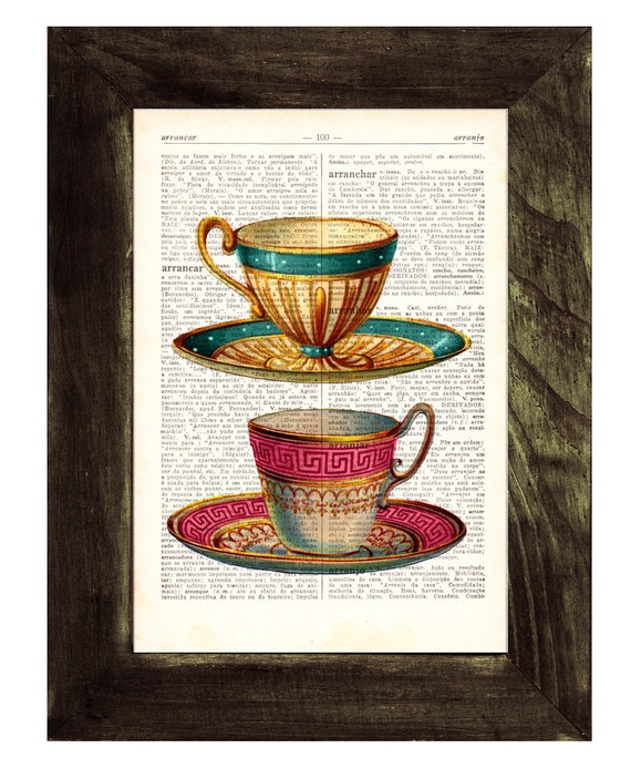 Teacups Upcycled Dictionary Page Two Teacups print on dictionary book wall art book print TVH073