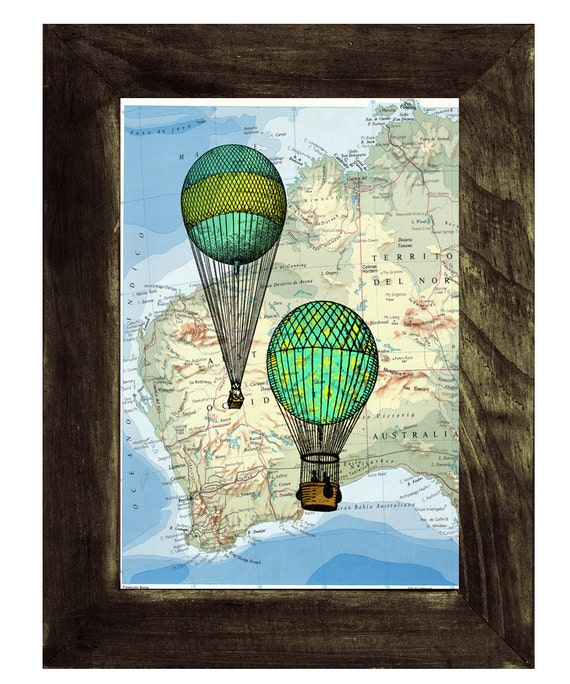 Hot air Balloons print on a Map, Vintage Atlas Wall art, Wall decor, Home decor, Digital prints, Giclée, TVH076