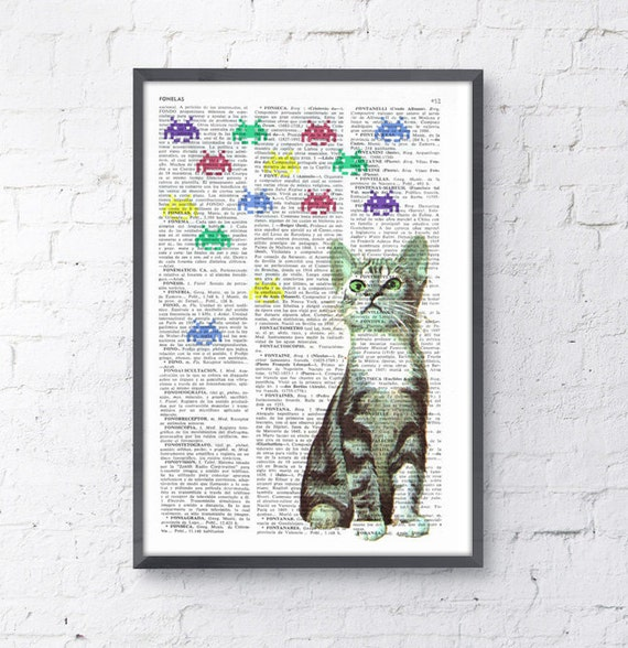 Kitten Vs Galaxians collage Print on Vintage Book page  Geek art,  Funny Nursery wall art, funny animal prints ANI232